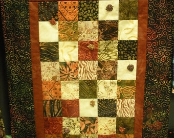 Fall Batik wallhanging with leaf accents
