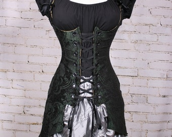 Waist 25-27 Black & Green Medallion Tailed Vixen
