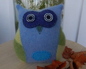 Recycled Cashmere Owl Tooth Fairy Pillow - Blue and Green