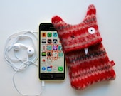 Red Fair Isle  Multi-Stripey Monster iPhone or iPod Cozy