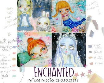Enchanted mixed media characters with Susana and Mindy online class