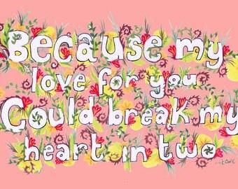 PDF digital Bowie lyrics Valentine Card - Let's Dance - PINK - print at home