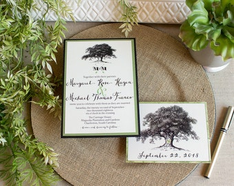 vintage oak tree wedding invitation- oak tree wedding invitation - greenery invitation - southern wedding - garden wedding - rustic wedding
