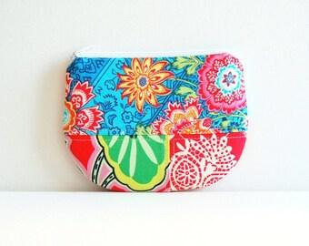 Patchwork Coin Purse, Zipper Pouch, Women's Wallet, Makeup Bag, Cosmetic Case, Amy Butler Fabrics