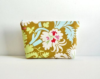 Organizer, Cosmetic Case, Makeup Bag, Zipper Pouch, Accessory Pouch, Acanthus in Olive Amy Butler