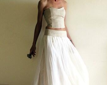 Boho bridal gown, silk wedding dress, fairy wedding dress, alternative bridal dress, beach wedding dress, ivory and white silk and hemp