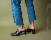 black backless mules / black leather loafer mules / backless loafers / 8 M / 731s / B3