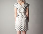 sign of leo white black polka dot mini dress / cotton mini dress / s / 1744d