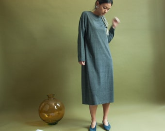 grey heather sack dress / dress cardigan set / knit minimalist dress / s / m / 1955d /B8