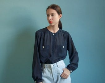 navy blue semi sheer blouse / collarless blouse / billowy see through button up / s / m / 1822t / B18
