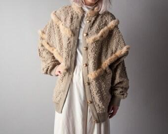 ciudad boucle patchwork rabbit fur caridgan sweater / boucle sweater / oversized cardigan / s / m / 1083t