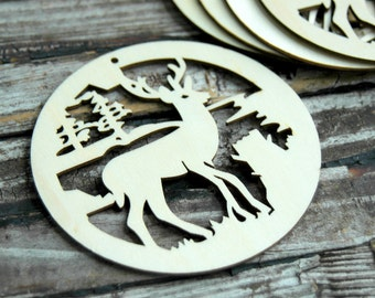 2 . Deer Christmas Ornaments . Unfinished Wood Tags . Rustic Ornaments for Christmas Tree . Gift for Him . Rustic Christmas Tree Ornaments