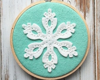 Mint Wool Felt Hoop Art - Snowflake -  Hand Embroidered - Ready to Ship