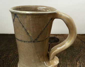 Darted Mug with Cobalt Blue Inlay Wheel Thrown Pottery Ready to Shop