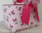 Easter Fabric Candy Egg Hunt Basket Bucket Storage Organizer - Sweet Bunnies on Pink -PERSONALIZED/Name Tag Available - See Note in Listing