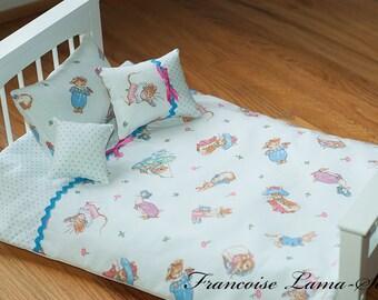 "18"" doll bedding set comforter pillows white blue pink Easter bedding set girls gift - 4 pc set"