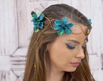 Elven Crown in Teal, Flower Crown, Costume Headdress, Elven Tiara, Woodland, Cosplay Headpiece