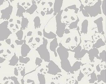 ON SALE Panda Pandalicious Fabric by Katarina Roccella for Art Gallery Fabrics AGF Grey and Cream - Pandalings Pod Shadow - One Yard Fabric