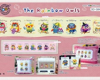 The Rainbow Owls -G84 or The Owl Family - G56  - Counted Cross Stitch Original Design Pattern Chart