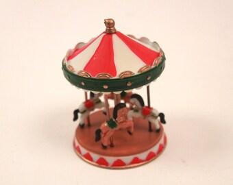 Vintage Miniature Carosel - Plastic - Merry Go Round - Cake Topper