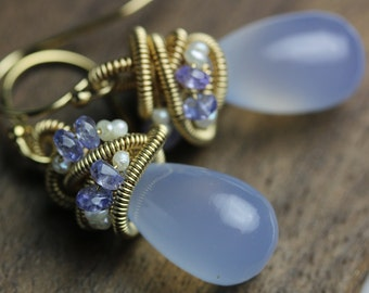 Blue Chalcedony Earrings with Tanzanite and Pearl Accents