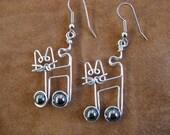 JAZZCAT EARRINGS cat earrings hematite music note