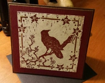 Sakura Crow - block print card