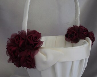 Large-Ivory or White Satin Flower Girl Basket with Wine Flower Accent