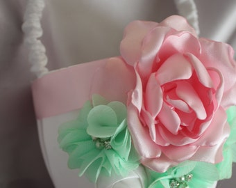 White Satin Flower Girl Basket with Pink and Mint -Custom Colors Available