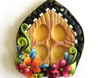 Fairy Garden Window, Craft Supply, Miniature Fairy Decor, Pixie Portal Window, Polymer Clay Fairy Decor, Mixed Media Embellishment