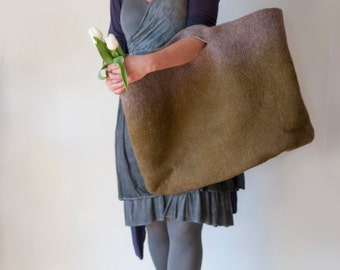 EXTRA LARGE  Olive Sturdy Everyday Art Bag / Carryall / Tote / Basket / Shopping / Market / Picnic / Hand felted wool / Wearable Art