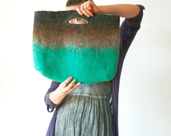 SMALLER Teal Brown Sturdy Everyday Art Bag / Carryall / Tote / Basket / Shopping / Market / Picnic / Hand felted wool / Wearable Art