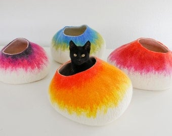 Cat Nap Cocoon / Cave / Bed / House / Vessel - Hand Felted Wool - Crisp Contemporary Design - READY TO SHIP Yellow Cat Bubble