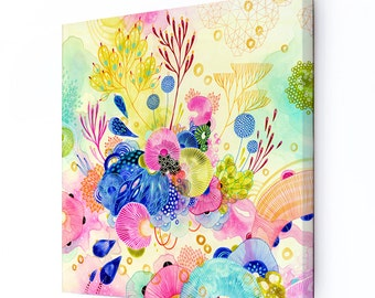 Stretched Canvas Print, Wall Art, Abstract Floral Canvas Print, Giclee Canvas Print, Original Artwork, Avid