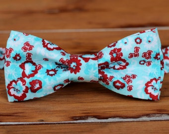 Boys Blue Red Bow Tie - boys red white blue floral cotton bowtie | infant baby toddler child preteen boy kid ties | boys wedding bow tie