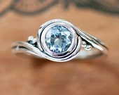 Aquamarine ring sterling silver, aquamarine engagement ring, unique alternative engagement ring, swirl ring recycled silver pirouette custom