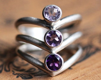 Amethyst ring sterling silver, cocktail ring, purple ombre, multi stone ring, statement ring silver bezel gemstone ring, Arrow ready to ship