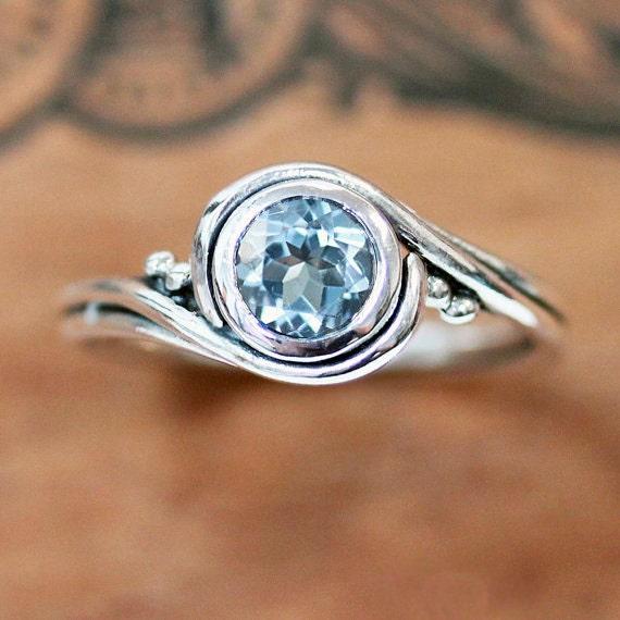 aquamarine ring sterling silver aquamarine engagement ring