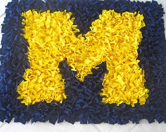 Custom University of Michigan U of M Cotton Shag Rug