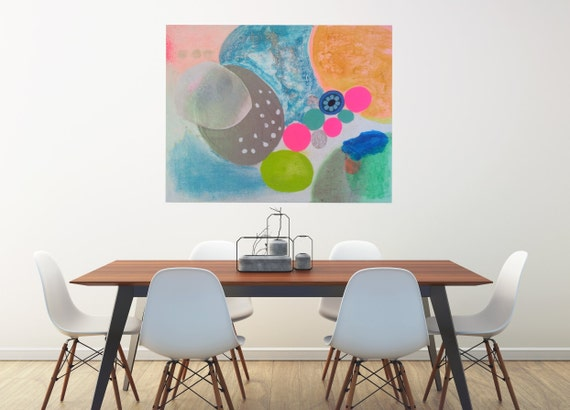Large Art Print Happy Wall Art Home Decor Abstract Modern Art Contemporary