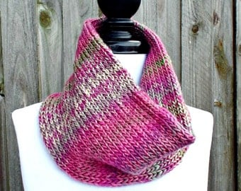Double Knit Circle Scarf Womens Scarf - Pink Cowl Pink Scarf - Cowl Scarf Womens Accessories Spring Fashion