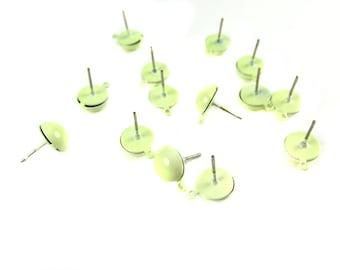 Vintage Light Green Enamel Stud Earring Findings (6 Pairs) (F569-C)