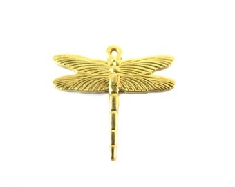 Small Brass Dragonfly Charms (8X) (M824)