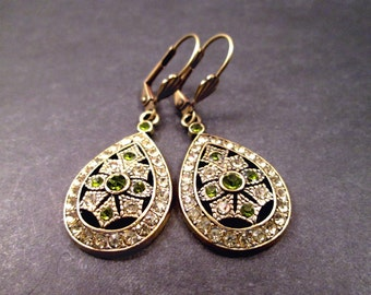 Rhinestone Pave Drop Earrings, Victorian Grace, Green Citrine and Brass Dangle Earrings, FREE Shipping U.S.
