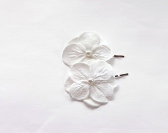 2 Bridal White Off Hydrangea Hair Pins, Shoe Clips, Baby Snap Clips