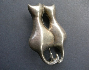 Vintage Sterling Silver Brooch Two Cuddling SIAMESE Cats 925 Sterling Silver FREE SHIPPING