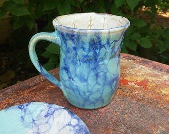 Wheel Thrown Mug Ceramic Pottery Cup with Tea Bag Holder