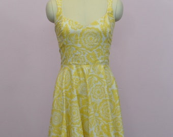 "SAMPLE SALE Clearance Sweetheat Pin Up Dress w Straps ""Party"" Dress in Yellow and Cream Floral Print plus size 18 XL"