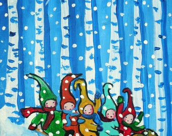 Sled Riding Pixies Christmas Trees Winter Holiday Snow Whimsical Colorful Folk Art Giclee Print