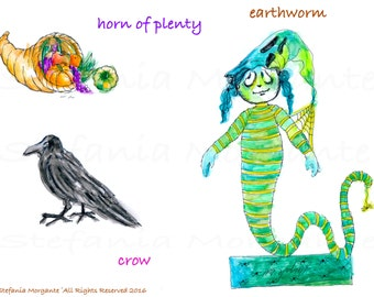 Crow horn of plenty earthworm Halloween digital file-Halloween invite cards decorations tags halloween craft-Halloween printable